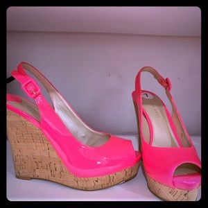 Pink wedges with cork heel